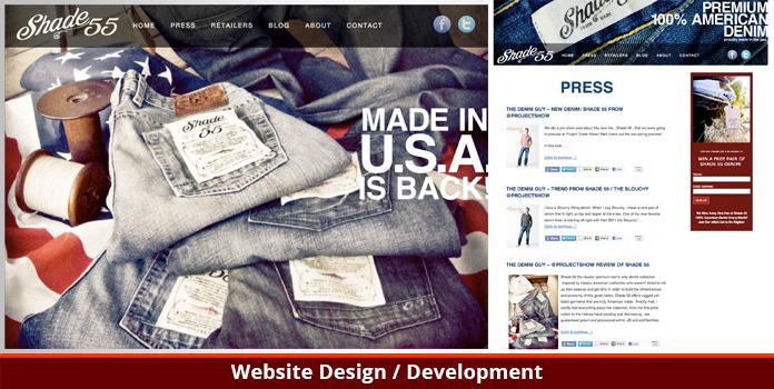 Shade 55 Denim - Website Design - Los Angeles, CA