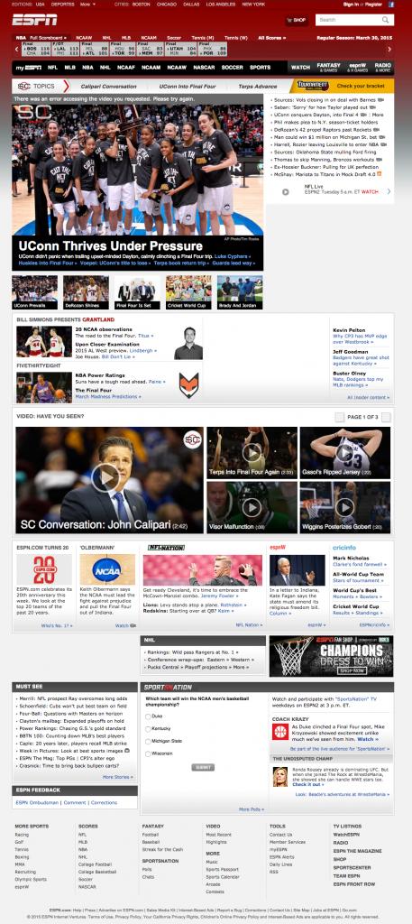 ESPN - Old Website Design