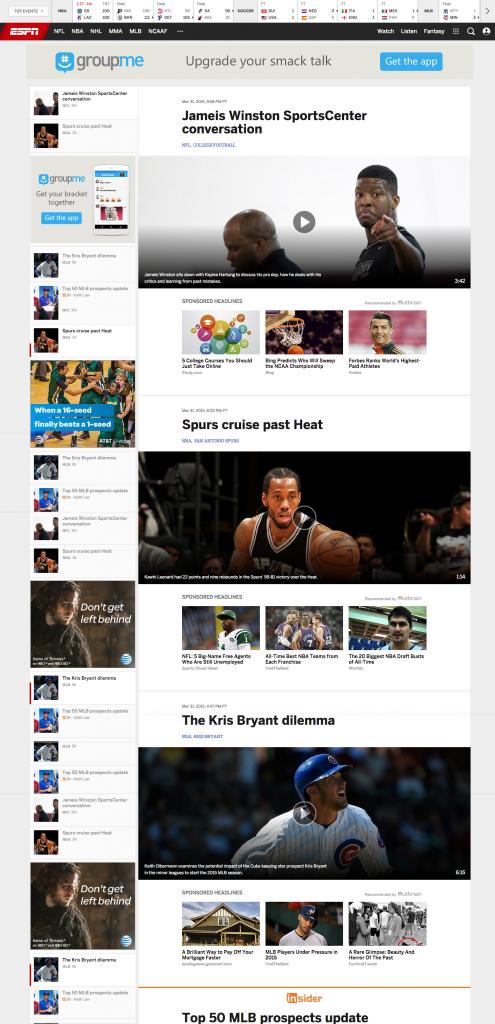 ESPN Website Re-Design Fail - Article Page